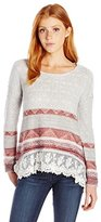 Jolt Women's Hi-Low Long Sleeve Sweater with Border Stripe Print and Lace Hem