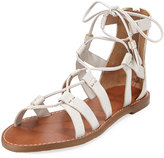 Tommy Bahama Melanna Leather Lace-Up Flat Sandal, White/Multi