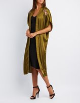 Charlotte Russe Embroidered Satin Duster Kimono