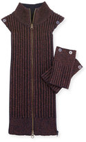 Veronica Beard Ribbed Metallic Dickey W/ Cuffs, Bordeaux/Navy