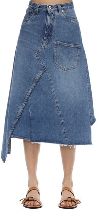 Loewe Asymmetric Cotton Denim Midi Skirt