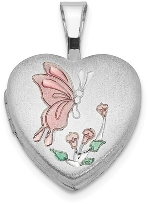 Curata 925 Sterling Silver Satin Holds 2 photos Enamel Butterfly Angel Wings Flowers 12mm Love Heart Locket Jewelry Gifts for Wo