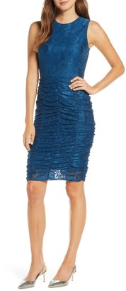 Brinker & Eliza Ruched Lace Body-Con Dress (Regular & Petite)