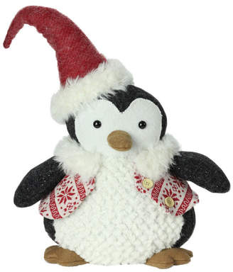 """Nordic Northlight 14"""" Small Plush Penguin in Red Snowflake Vest Christmas Figure"""