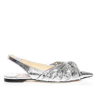 Jimmy Choo ANNABELL FLAT Silver Metallic Foil Closed Toe Flats