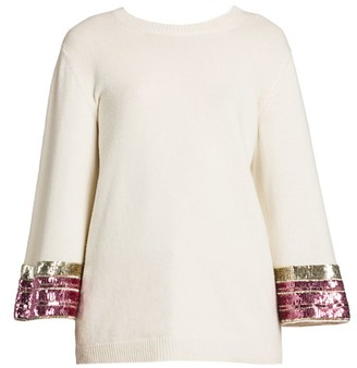 Valentino Sequin-Cuff Cashmere & Wool Knit Sweater