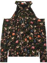 Erdem Aila Cold-shoulder Floral-print Silk Crepe De Chine Top - Black