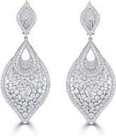 Neiman Marcus Diamonds 14k White Gold Diamond Leaf-Shaped Earrings
