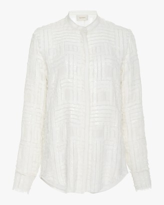 Semsem Frayed Sequin-Embellished Silk Chiffon Top