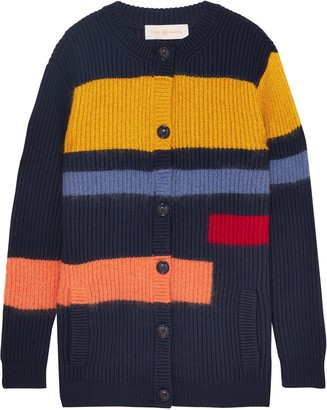 Tory Burch Color-block Merino Wool-blend Cardigan