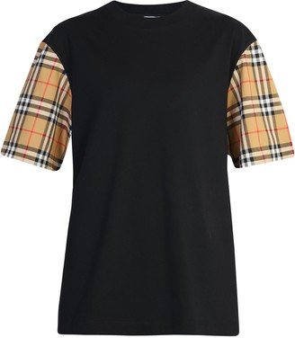 Burberry Check Panelled Sleeves T-shirt