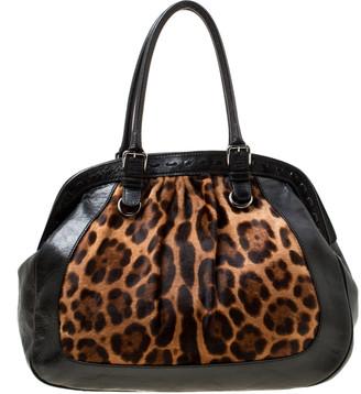 Dolce & Gabbana Black/Brown Leopard Print Calf Hair and Leather Miss Romantique Satchel