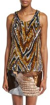 Tom Ford 3D Sequin Animal-Print Tank, Yellow Combo