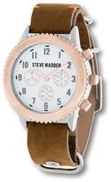 Steve Madden Men's Analog Leather Strap Watch
