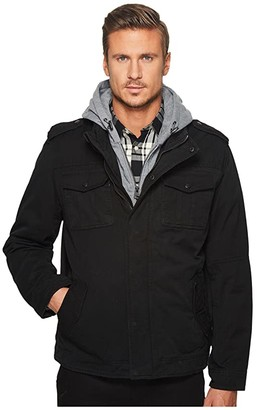 Levi's Two-Pocket Hoodie with Zip Out Jersey Bib/Hood and Sherpa Lining (Black) Men's Sweatshirt