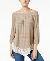 Style&Co. Style & Co Crochet-Hem Bishop-Sleeve Top, Only at Macy's