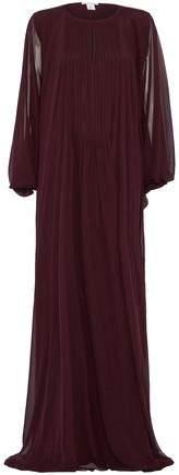 Oscar de la Renta Pintucked Draped Silk-Chiffon Gown