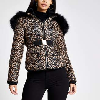 River Island Womens Brown leopard print fitted padded jacket