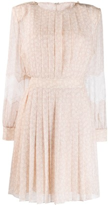 Fendi lace flared pleated dress