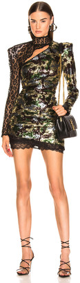 Dundas Camouflage Sequins Dress in Kakhy & Multicolor   FWRD