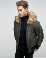 Diesel W-esk Short Parka Jacket Faux Fur Trim