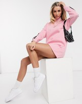 Daisy Street high neck sweater dress with reflective panels in pink