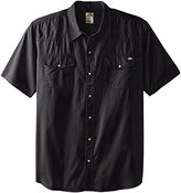 Dickies Men's Short Sleeve Twill Western Shirt, Black, Large