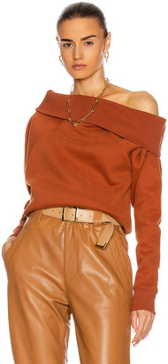 Marissa Webb So Relaxed Off The Shoulder Plush Sweatshirt in Rust | FWRD