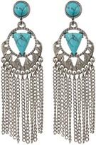 Cara Accessories Turquoise Chain Fringe Dangle Earrings