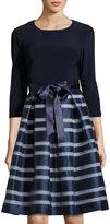 Chetta B Organza-Skirt 3/4-Sleeve Dress, Navy