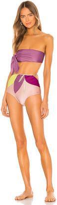 Adriana Degreas Colorful Flowers Hot Pant Side Knot Bikini Set