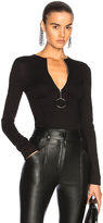 Thierry Mugler Jersey Zip Up Bodycon Bodysuit in Black.