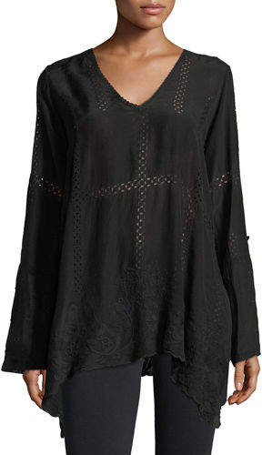 Johnny Was Cage Flare Long-Sleeve Tunic