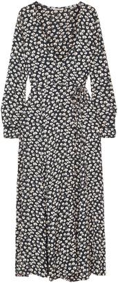 Ganni Roseburg Floral-print Crepe Midi Wrap Dress