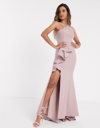 Jarlo one shoulder ruffle maxi with thigh split in blush