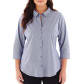 JCPenney Worthington 3/4 Sleeve Button Front Shirt - Plus