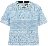 House of Holland Heart Guipure Lace Top - Blue