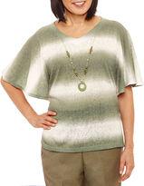 Alfred Dunner Palm Dessert Elbow Sleeve V Neck T-Shirt-Womens