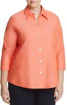 Foxcroft Plus Paige Three-Quarter Sleeve Poplin Shirt