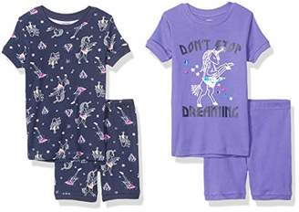 Spotted Zebra 4-piece Snug-fit Cotton Pajama Short SetSmall (6-7), Pack of 4