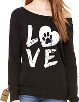 Expression Tees Slouchy Love Dog Paw Print Ladies