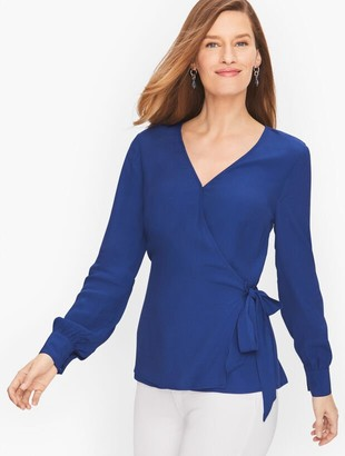 Talbots Wrap Sash Blouse - Solid
