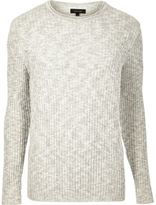 River Island MensEcru ribbed crew neck sweater