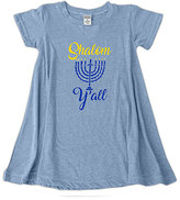 Urban Smalls Heather Blue 'Shalom Y'all' Swing Dress - Toddler & Girls