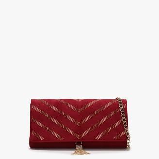 Valentino By Mario Valentino Dime Burgundy Studded Clutch Bag