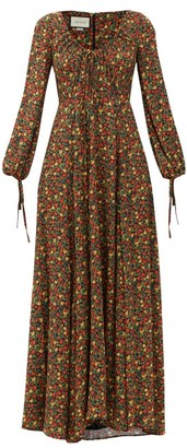 Gucci Liberty-print Crepe Maxi Dress - Brown Print