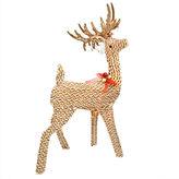 Asstd National Brand 39 Pre-Lit Brown & White Striped Chenille Reindeer Yard Art