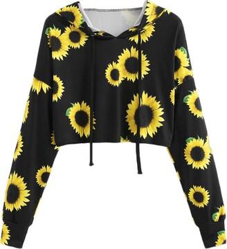 Hansee Hot Sale! Women Teen Girls Fashion Sunflower Print Crop Hoodie Top Long Sleeve Jumper Sweatshirt Blouse(Black M)
