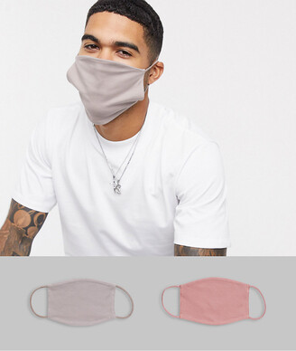 ASOS DESIGN 2 pack face covering in grey and dusky pink