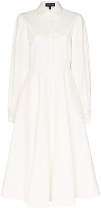 Anouki Open-Back Pleated Cotton Shirt Dress